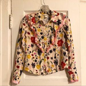 H&M Floral Fringe Button Down